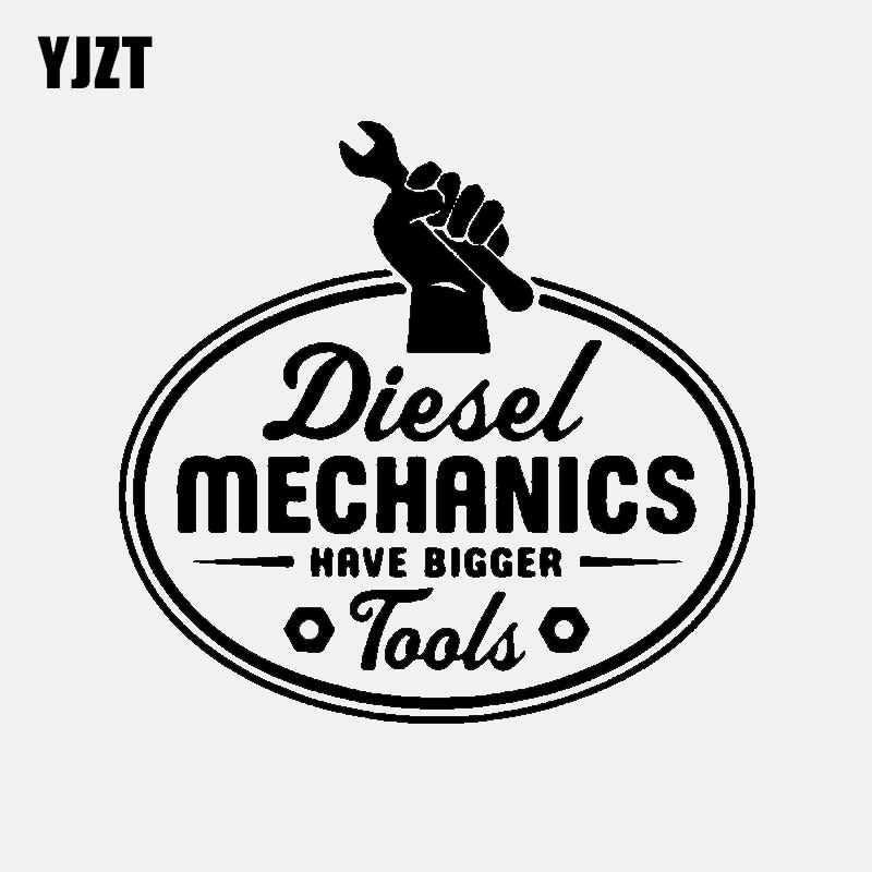 YJZT 14.5CM*13.6CM Fashion Diesel Mechanics Bigger Tools Vinyl Car Window Sticker Decal Black Silver C11-1820