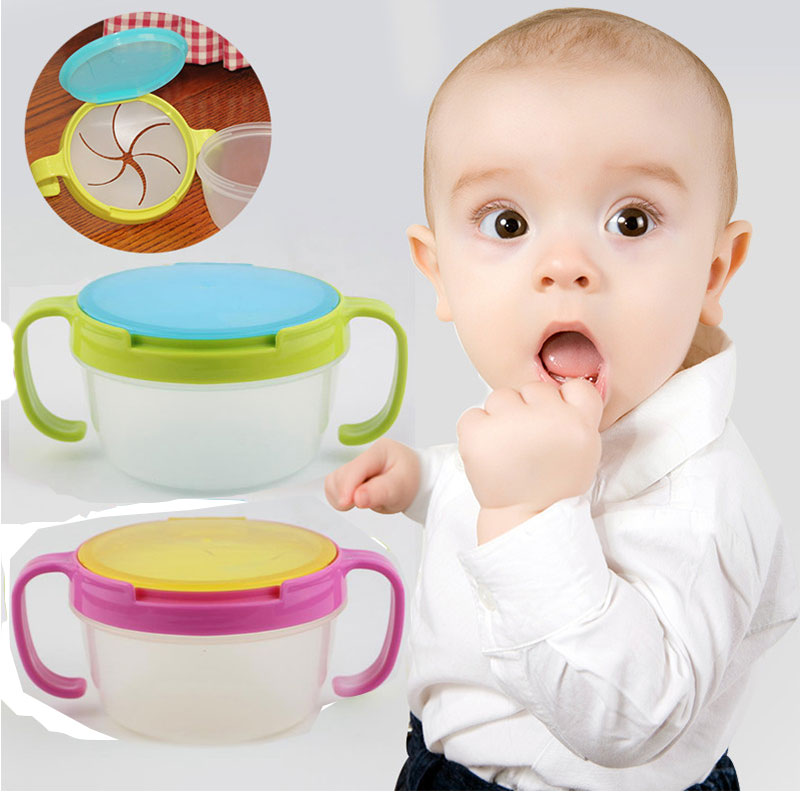 Baby Snacks Bowl Children Kids Food Storage Dishes Anti Spill 360 Rotate Baby Solid Feeding Plate Tableware Baby Feeding Stuff