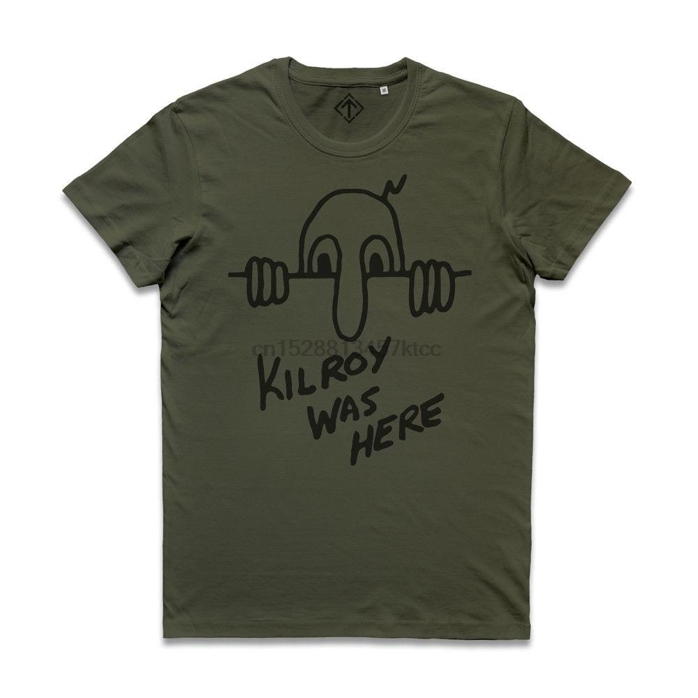 2018 novo 100% algodão t camisas homens maglietta kilroy estava aqui guerra do exército foo graffiti d dia normandia senhor chad t camisa casual