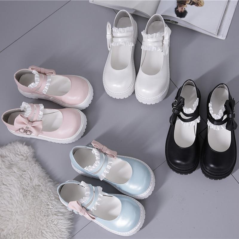 Kawaii girl lolita shoes low heel round head lace bowknot comfortable kawaii shoes tea party women shoes sweet lolita loli cos