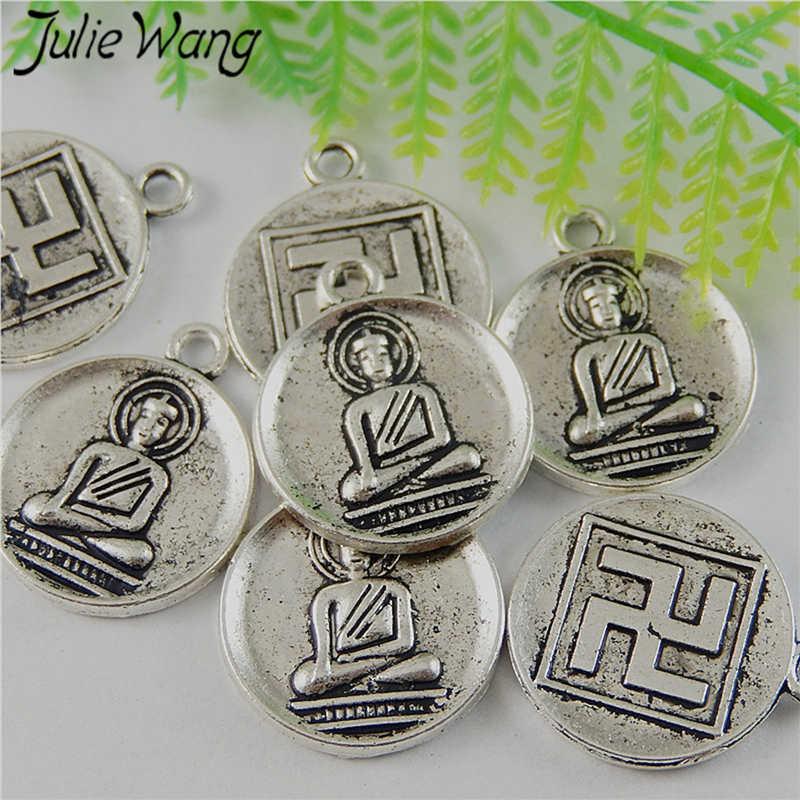 Julie Wang 15 шт. круглые подвески из сплава Будды Свастика Винтажные Ювелирные изделия ожерелье антикварные подвески из серебра фурнитура для телефона