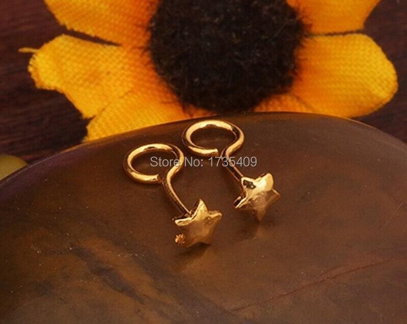 Real 999 24K Yellow Gold Earrings/ Women's Little Five Star Earring Stud