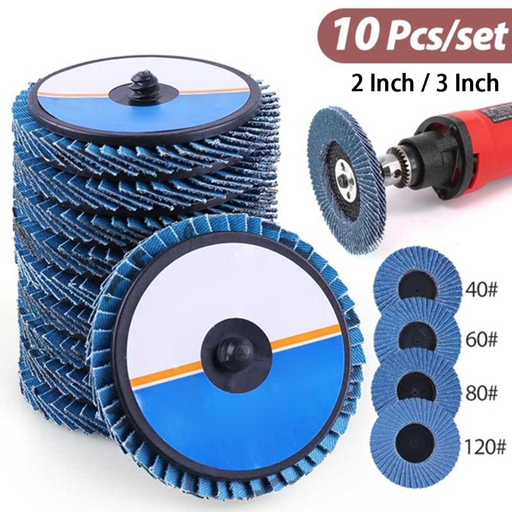 10 Uds. Discos de aleta de grano de 2/3 pulgadas 40/60/80/120 surtido de discos de lijado de disco de alúmina de Zirconia de alta densidad