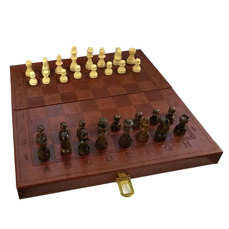 Euramerican хит складные шахматные игры набор деревянных шахматных штук твердая деревянная шахматная доска установленная Синтетическая кожа на...