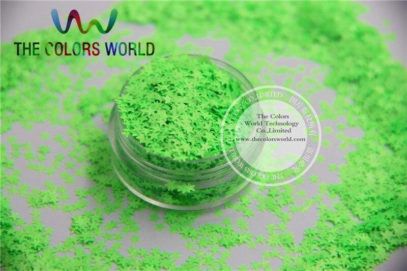 Solvent resistant Funkelt-Neon Grüne Farbe Sterne-förmigen Glitter Confetti für Nagellack und DIY dekoration 1 Pack = 50g