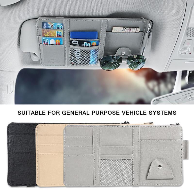Universal carro auto visor organizador titular saco de armazenamento tydyingcase para óculos de cartão acessórios do carro viseira armazenamento multifuncional