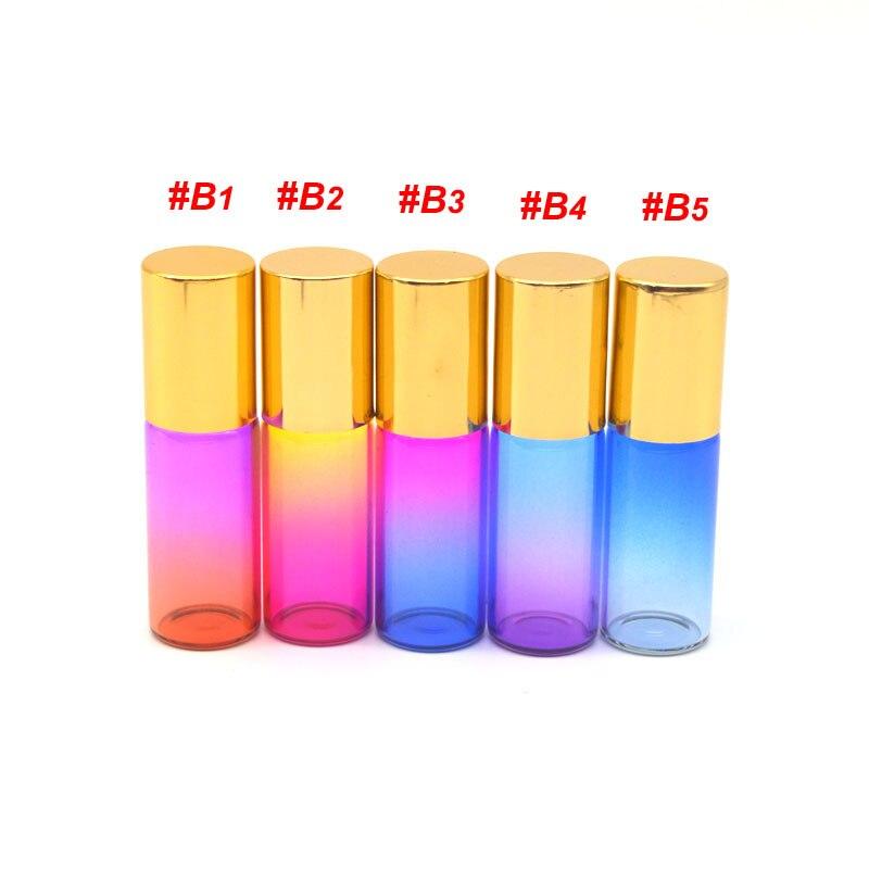 1 Uds Perfume 5ml de ruedas de patines de colores botella de vidrio botella de fragancia vacías rollo de aceite esencial botella de Roll-On tapa de oro