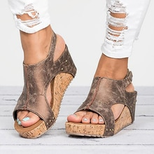 Sandalias de las mujeres 2020 plataforma Sandalias cuñas zapatos de Mujer tacones Sandalias Mujer Zapatos de verano Zapatos de cuero de Sandalias de tacón con cuña 43