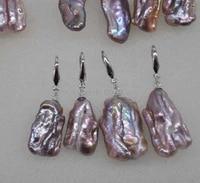 newly wholesale 10 pairs 20 28mm baroque purple biwa pearl earring dangle