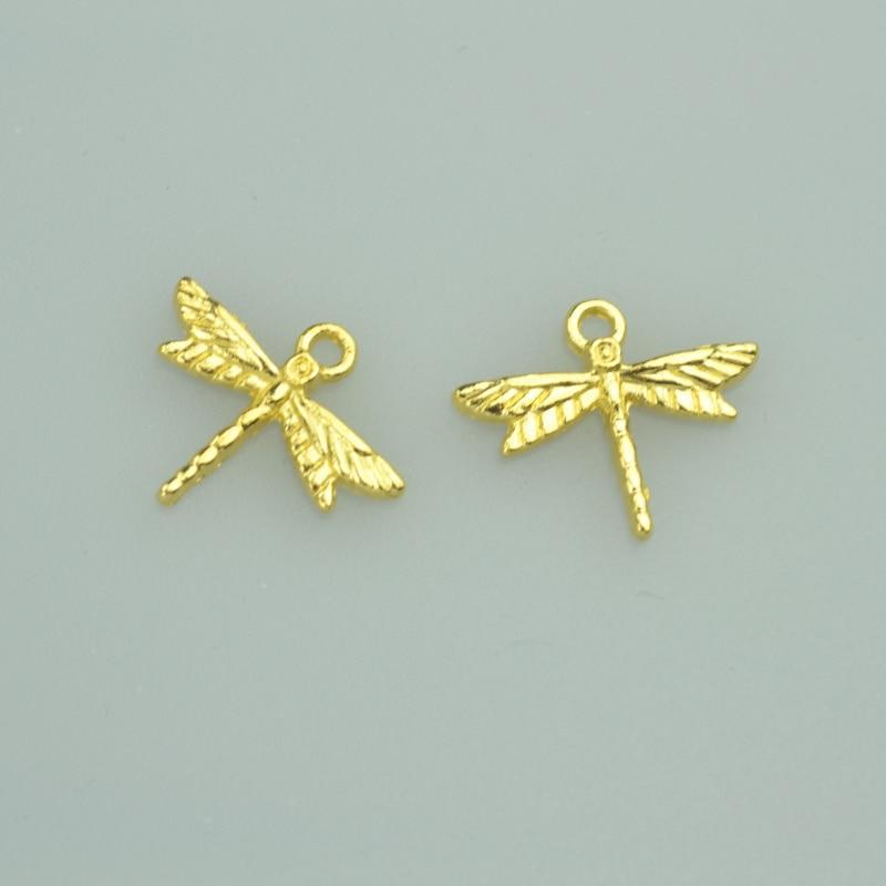 40 Uds. Colgante de aleación de libélula de color dorado de 16x19mm compatible con collares, pulseras, colgantes diy para la fabricación de joyas 4023A