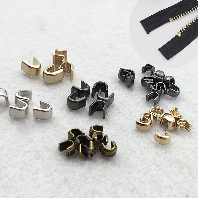 10 Pcs / Lot #5 U-shaped Zipper Stopper Top Stop Bottom Rescue Repair Set Silver Gold Bronze Zipper Accessories P063
