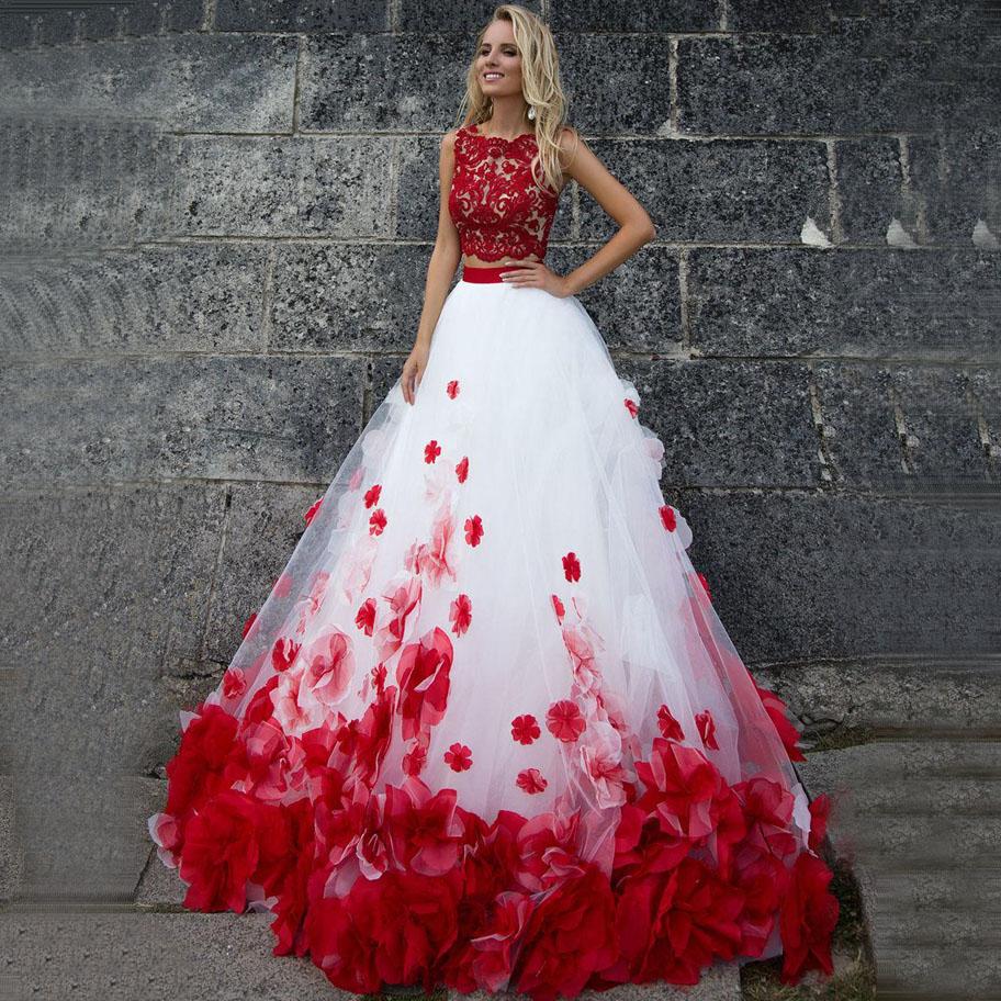 ADLN Jewel Two Pieces Wedding Dresses with Red Flowers Custom Made Ball Gown Saudi Arabia Bridal Gowns Vestido de Novia 2020