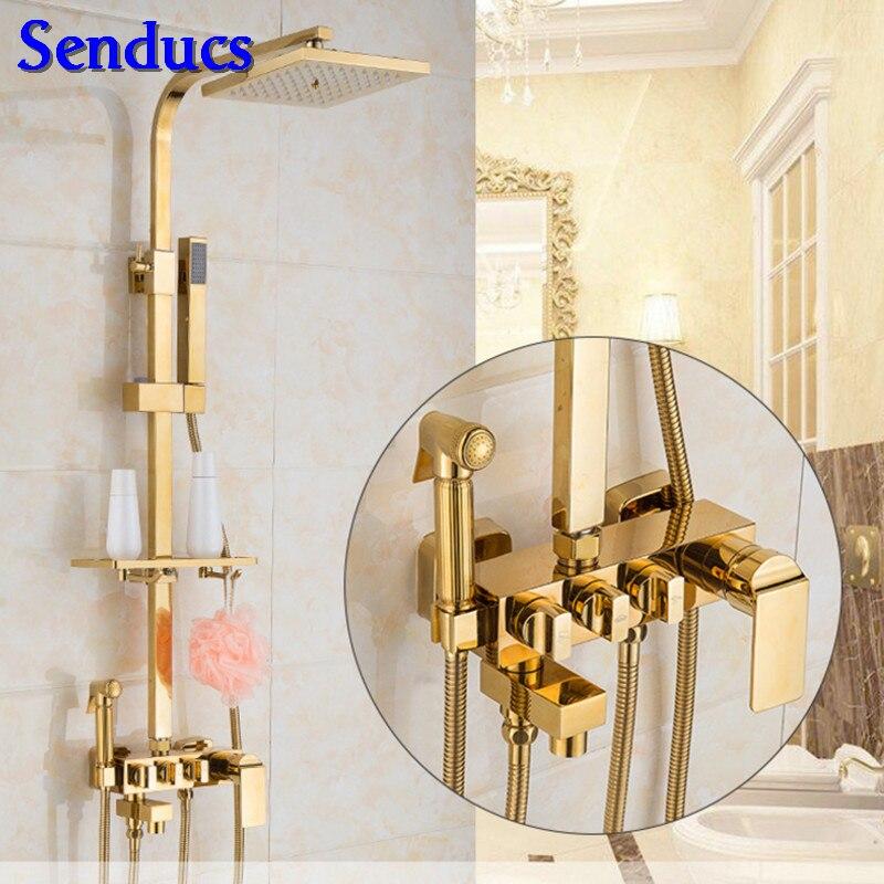 Senducs-مجموعة دش نحاسية عالية الجودة ، صنبور دش مربع عالي الجودة ، نظام دش نحاسي ذهبي