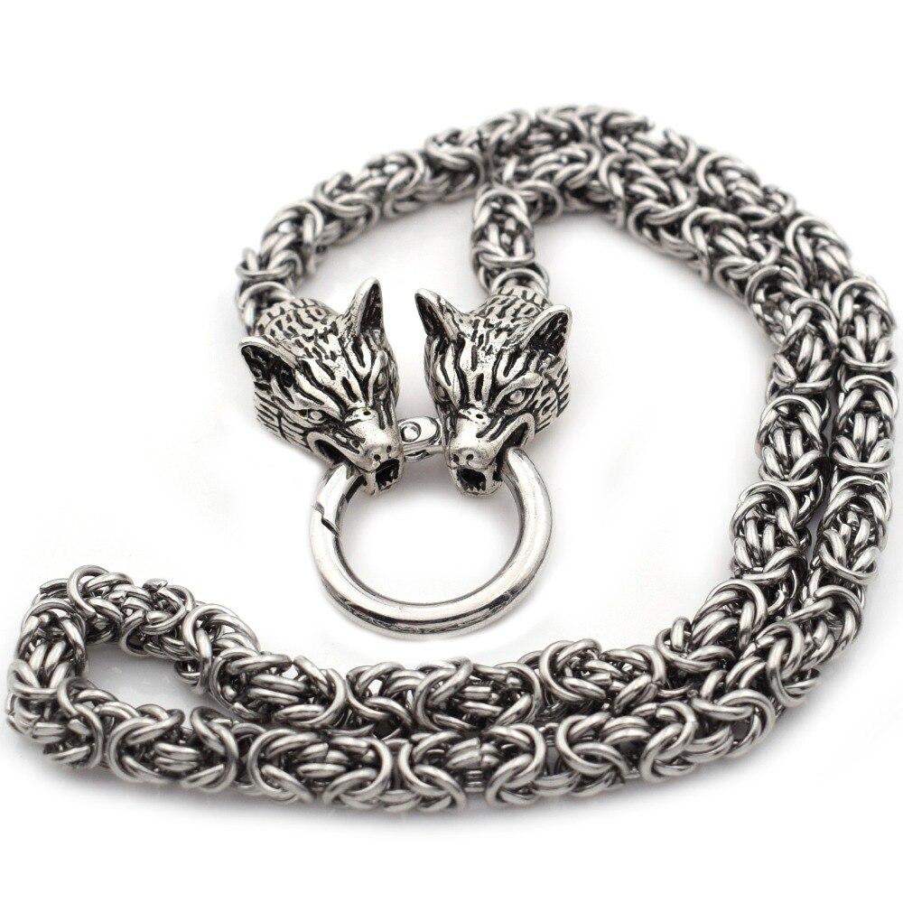 Collar de cabeza de Lobo para hombre, collar de joyería de acero pesado de lobo vikingo nórdico, collar de cadena de 7mm de diámetro