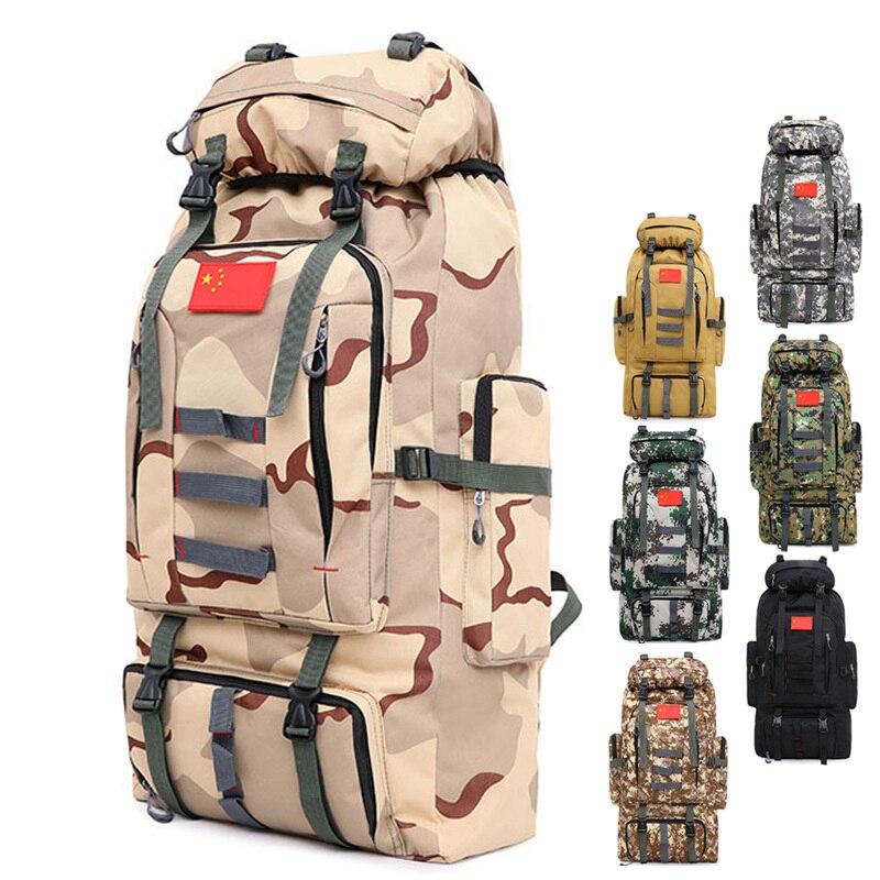 Mochila militar 80L de gran capacidad para hombre multifunción impermeable Oxford senderismo campamento mochilas desgaste-resistente viaje Duffle