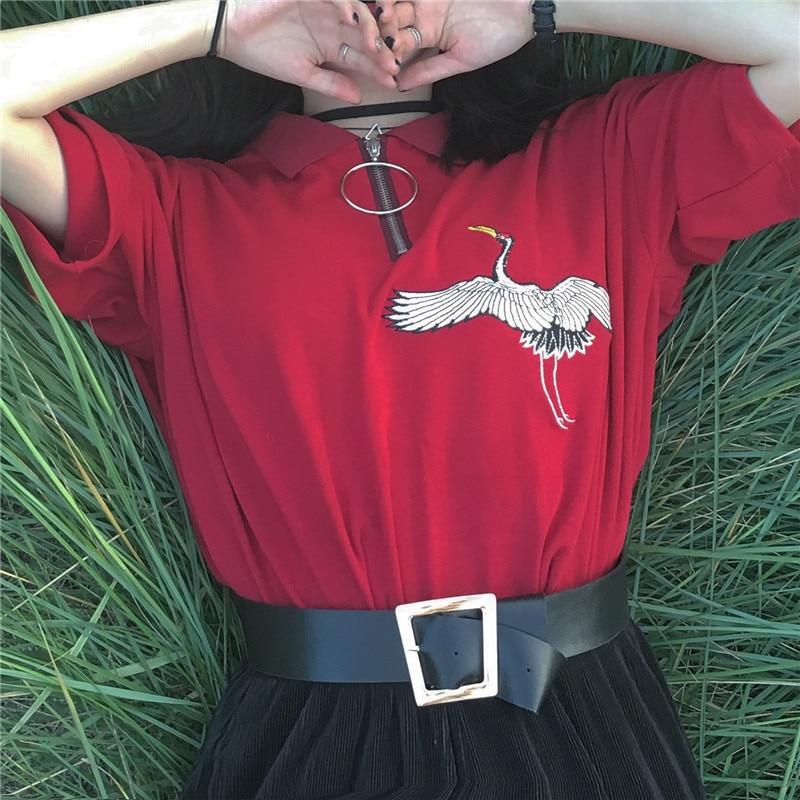 Verano bordado grullas rojo Bottoming ocio suelto casual gran círculo cremallera polo Camiseta de manga corta Camiseta mujer superior