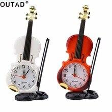 OUTAD New 2 Colors Creative Instrument Table Clock Student Violin Gift Home Decor Fiddle Quartz Alarm Clock Desk Plastic Craft