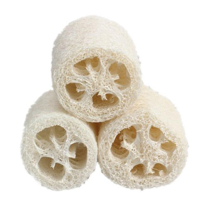 3 Pcs Body Scrubber Exfoliator Pot Bowl Washer Natural Loofah Sponge Bath Shower Spa