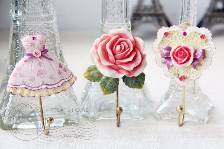Versão coreana da pastoral amor rosas saia resina casaco ganchos casaco ganchos de gancho acessórios decorativos para casa