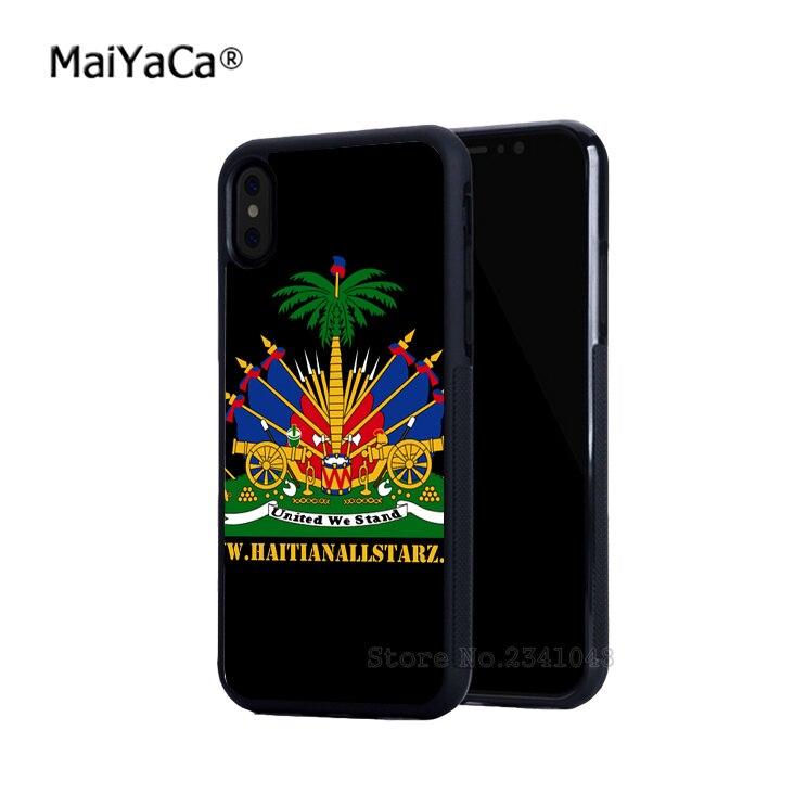 Fundas de teléfono móvil con bandera Escudo de Armas haitiano de Arms soft edge para iphone 5s se 6 6s plus 7 7plus 8 8plus X XR XS MAX funda de silicona