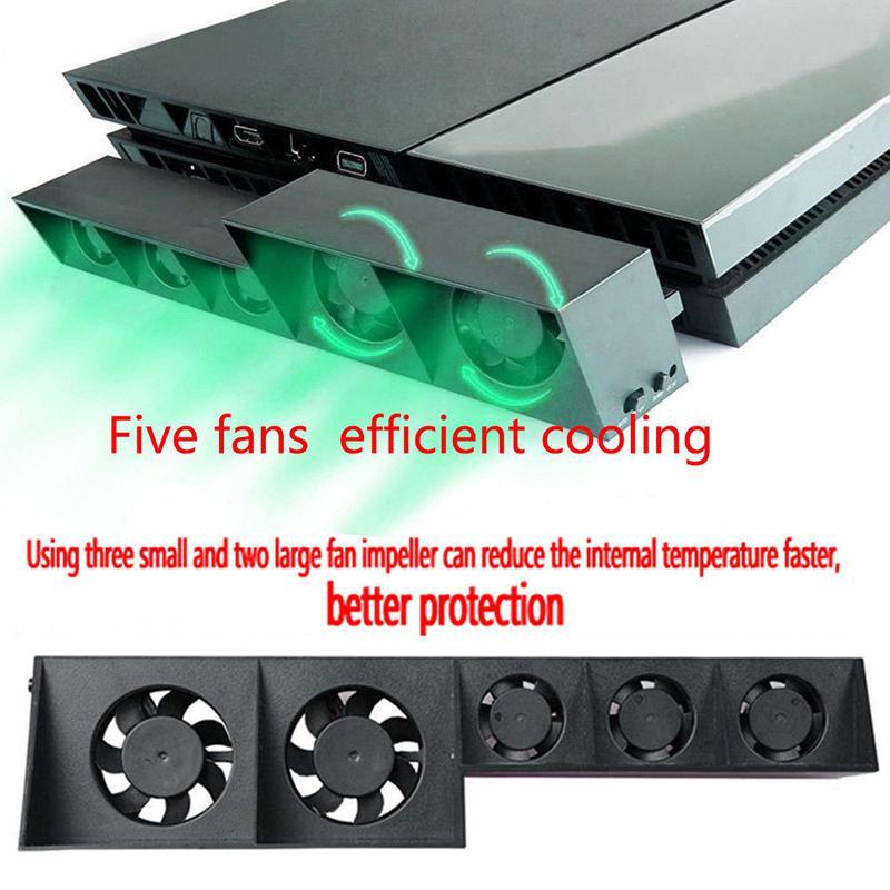 Ventilador de refrigeración para consola PS4 EastVita, ventilador de refrigeración para PS4 USB externo de 5 ventiladores, Control de temperatura súper Turbo para consola Playstation 4