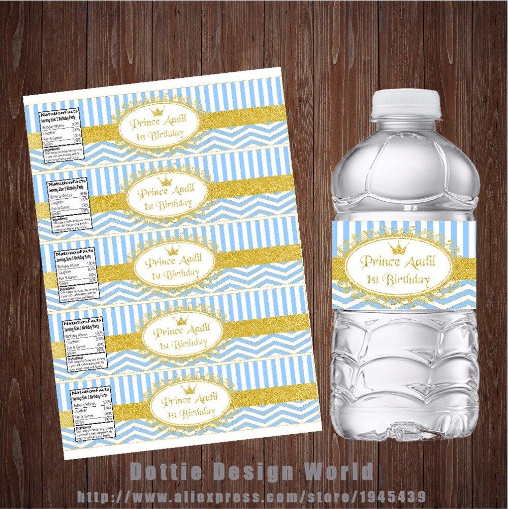 20 шт./лот Prince водная бутылка этикетка голубого и золотого цвета Водонепроницаемая обертка для конфет вечерние украшения для дня рождения для маленьких мальчиков и девочек