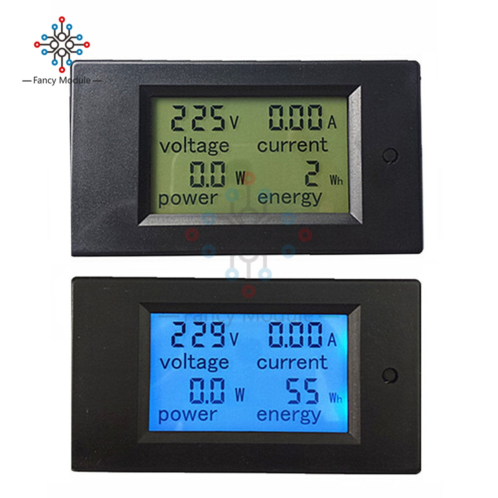 AC 80V-260V 20A 4 in 1 Digital LCD Display Digital Current Voltmeter Ammeter Power Energy Multimeter Panel Tester Meter Monitor