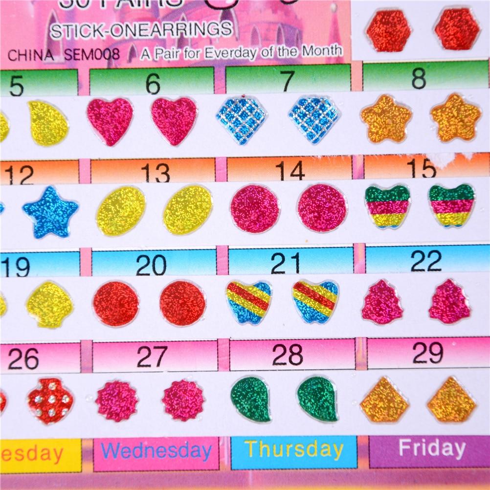 60 шт. Замечательные детские наклейки для мальчиков и девочек, серьги, Мультяшные наклейки с кристаллами, наклейки для ушей, наклейки для детского сада