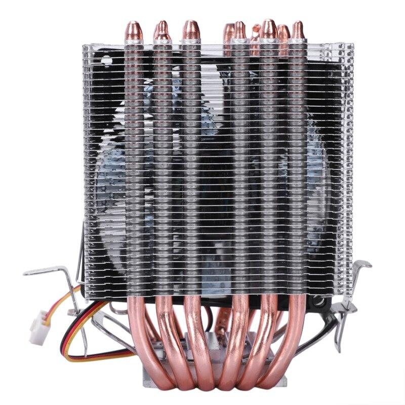 Lanshuo 6 tubo de calor 3 fio com luz único ventilador cpu ventilador refrigerador do dissipador calor para intel lga 1155/1156/1366 térmico si
