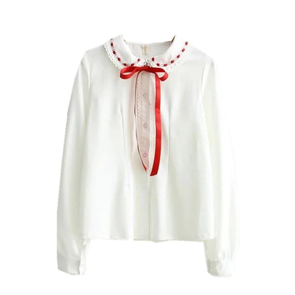 Adomoe White Chiffon Shirts Red Ribbon Tie Lace Peter pan collar Cute Mori girl Sweet Lovely Women Lolita Full sleeve Blouses