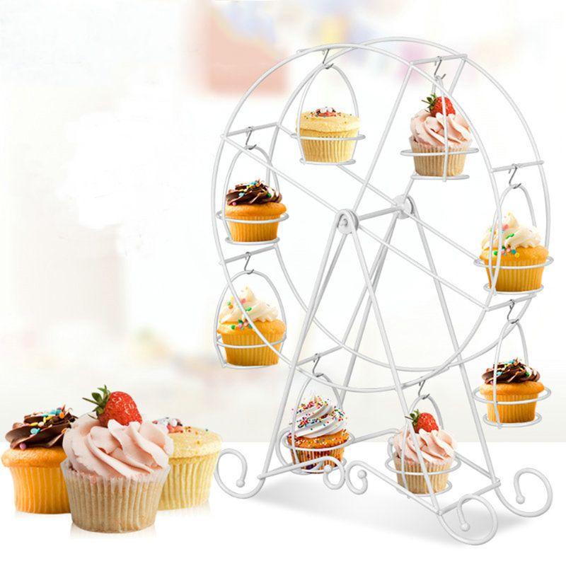 8 copo carrinho de bolo aço inoxidável roda gigante exibir suporte de copo titular bolo cremalheira queque suporte para festa de casamento fornecimento