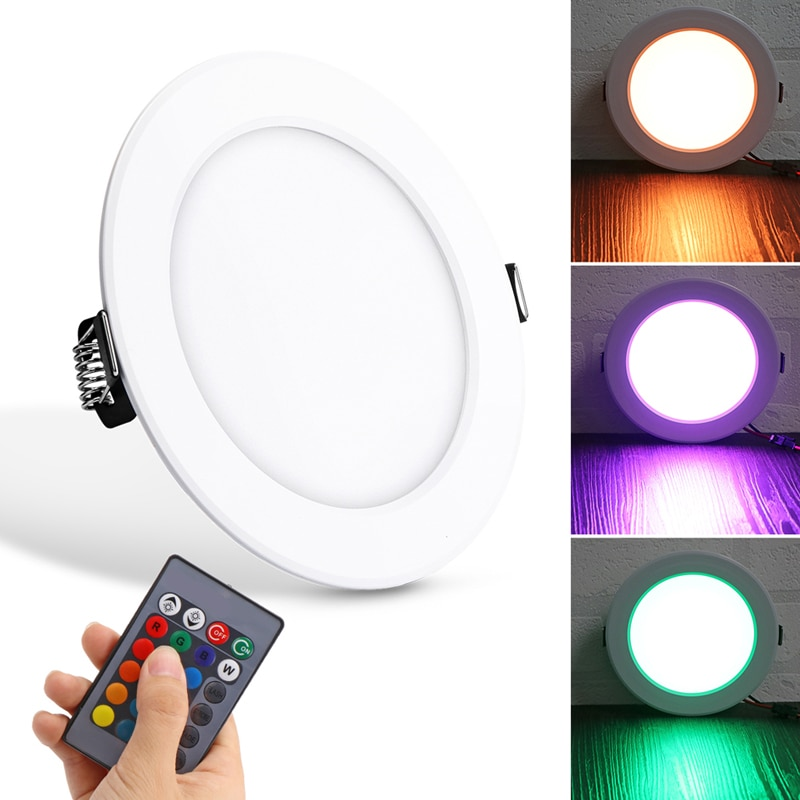 Luz descendente de techo RGB de 10W, luz con control remoto RGB, luces empotradas de aluminio de colores panel de luz led redondo
