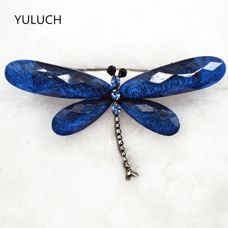 Женская винтажная брошка со стразами и блестящими 6 видов цветов, в виде стрекозы