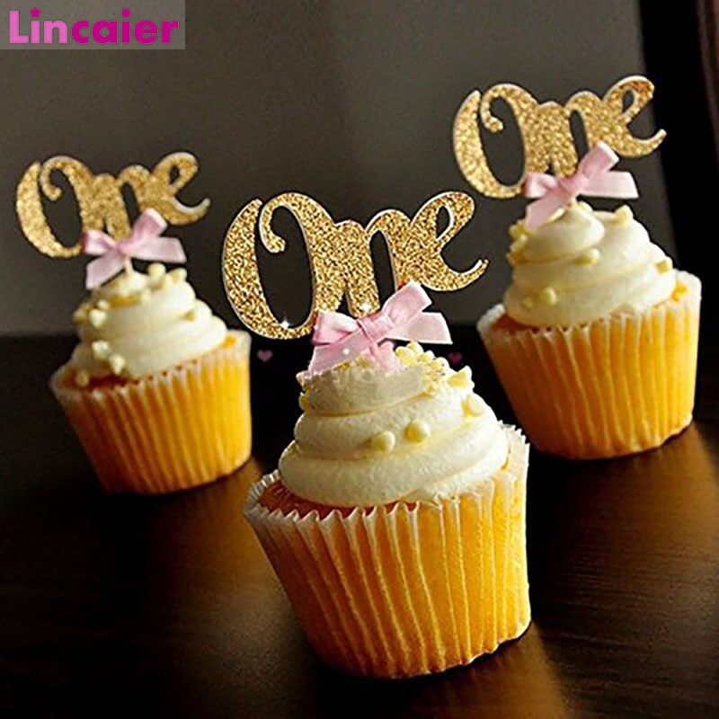 6 pces um papel brilho cupcake toppers 1st decorações da festa de aniversário primeiro bebê menino menina meu 1 ano eu sou um suprimentos