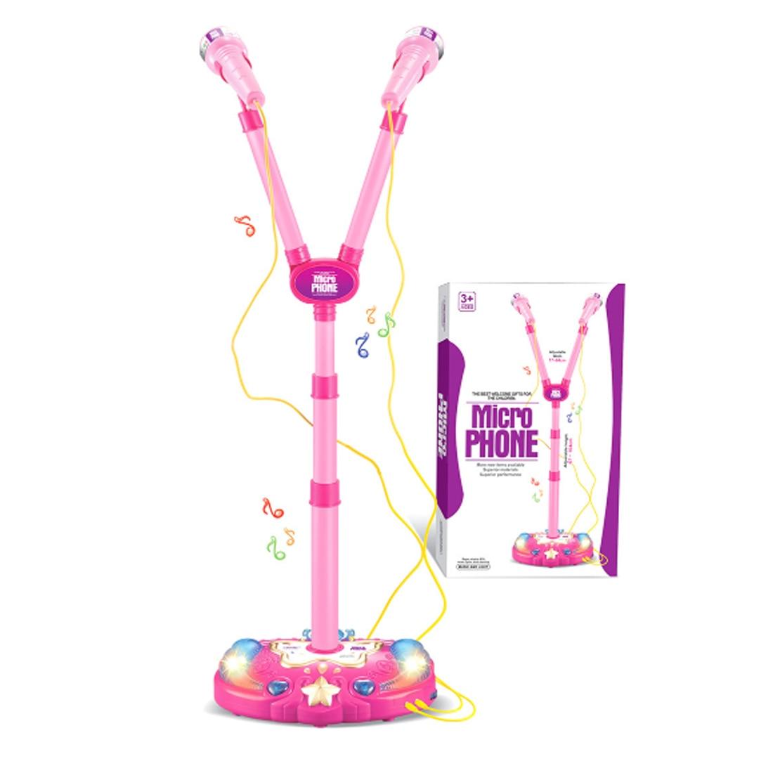 Children Vertical Type Adjustable Karaoke Machine Toys Two-mike Light for Singing Brainging Musical Instrument Toys for Kids