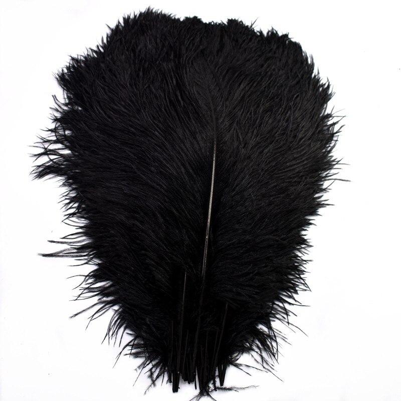 Barato al por mayor 10 Uds 15-70CM negro plumas avestruz plumas DIY grandes plumas de avestruz plumas de la boda para manualidades Decoración