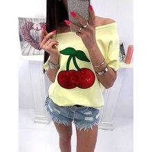 Zomer Sexy Off Shoulder Top T-shirt Vrouwen T-shirt Sequin Cherry Applique T-shirts Tops Plus Size 5XL Tee Shirt Femme WS9079M