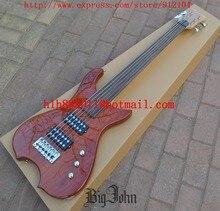 Nouvelle guitare basse électrique Big John 6 cordes fretless en naturel avec corps en bois de zèbre et F-3312 de ramassage passif