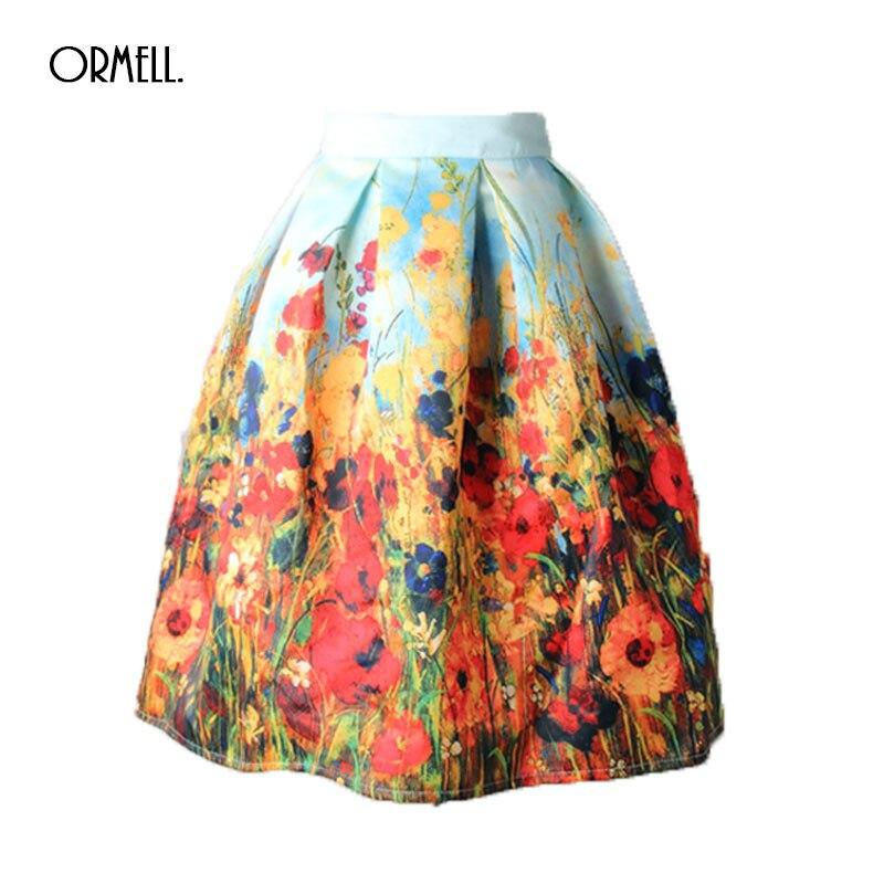 Женская плиссированная юбка ORMELL, винтажная бальная юбка средней длины с высокой талией и цветочным принтом, лето 2019