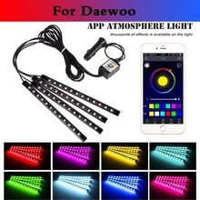 car styling Car RGB Strip Light Flexible Atmosphere Lamp Decorative Control For Daewoo Matiz Nexia Nubira Sens Tosca Winstorm