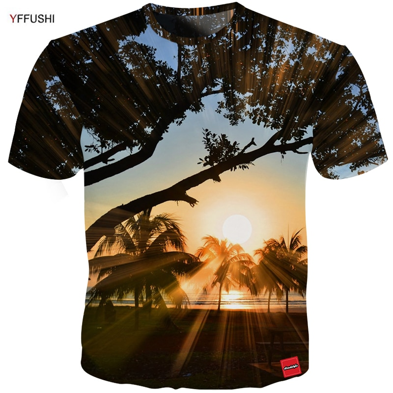 YFFUSHI Group Traval 3D Tshirt Cool Summer Beach T-Shirts Men Fashion Patchworked 3D Print Men Holiday t shirt Plus Size 5XL