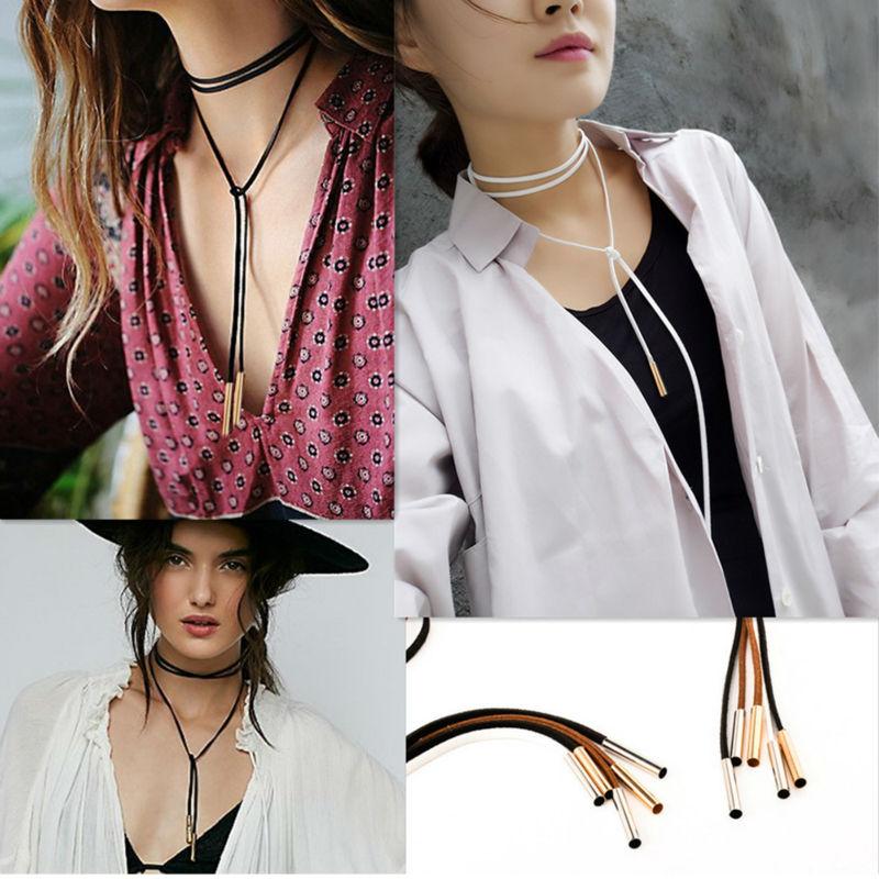 Nueva moda cuero cuerda cadenas gargantilla collares para mujeres Choker babero cuello Steampunk Choker Coller Femme maxi colar