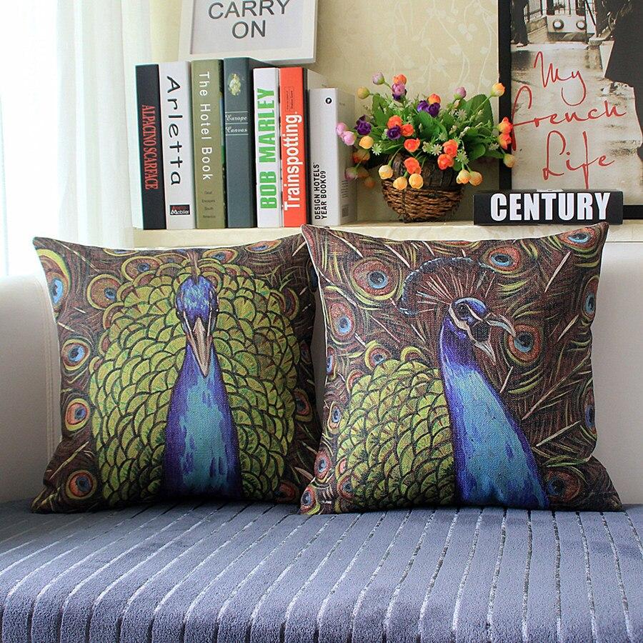 غطاء وسادة على شكل طاووس ، مطلي يدويًا ، صينية ، غطاء وسادة ، حيوانات كرتونية ، بيع بالجملة