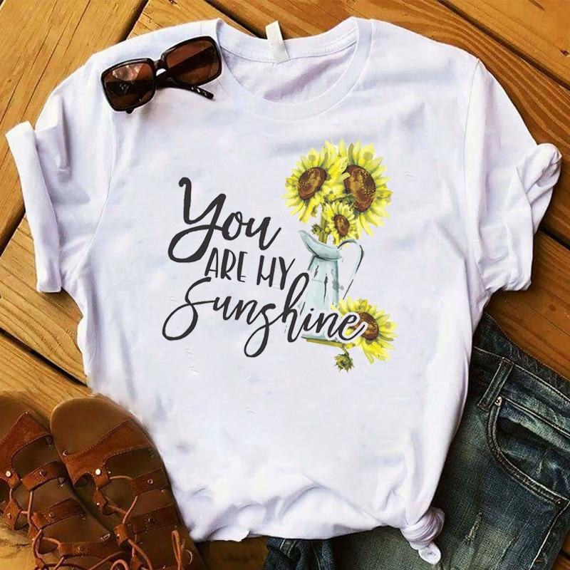 Mujeres T mujeres verano girasol sol Floral gráfico camiseta mujer señoras impreso Top camiseta mujer ropa camiseta