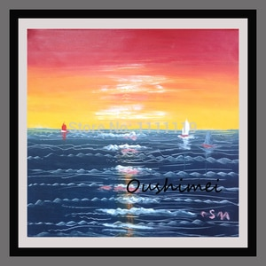 Ручная роспись, современный абстрактный закат, пейзаж, картина маслом на холсте, ручная работа, искусство на стену, каллиграфия, морской пей...