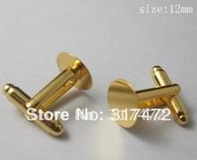 Freeshipping Gold Cufflinks Backs Cufflink Blanks Tray Cufflink Setting findings 12mm