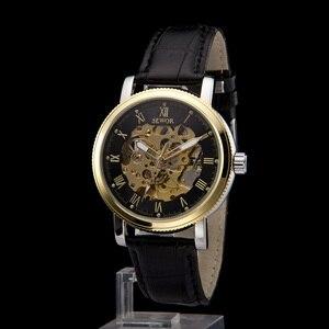 Мужские черные часы-скелетоны SEWOR в стиле стимпанк, аналоговые Механические мужские спортивные часы с кожаным ремешком и ручной обмоткой