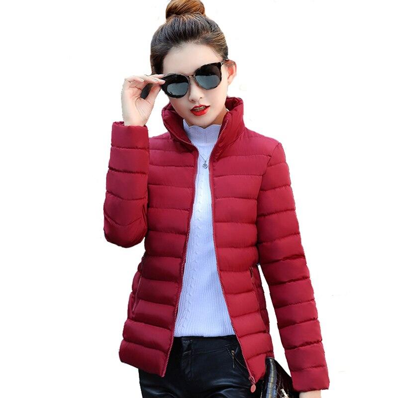 Chaqueta básica con cuello levantado para mujer, Chaqueta corta de invierno ajustada de color liso para Otoño e Invierno para mujer, chaqueta femenina Inverno 2019