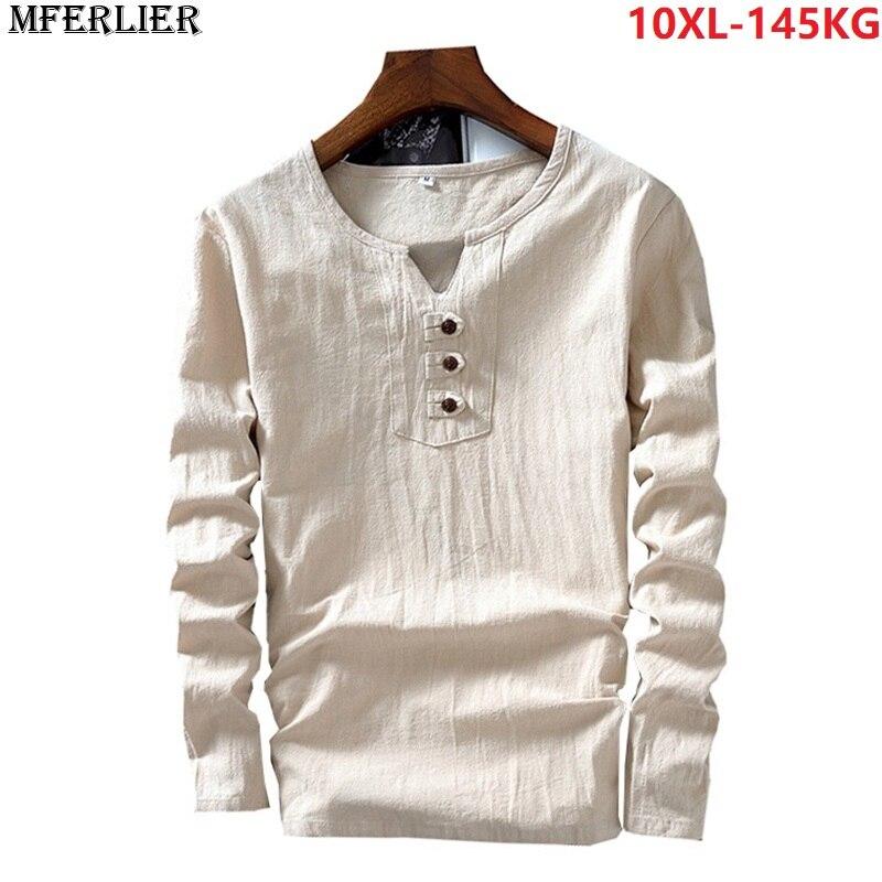 Мужской льняной Топ с длинным рукавом, винтажный, японский, китайский стиль, осенний, хлопковый, большой размер 7XL 8XL 9XL 10XL, Повседневная футболка с треугольным вырезом синего цвета