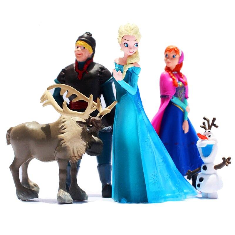 5 pçs/set Disney Congelado Princesa Anna Elsa Kristoff Sven Olaf PVC Modelo Dolls Figuras de Ação Coleção brinquedos para Presente de Aniversário